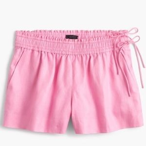 J. Crew pink linen shorts with side ties